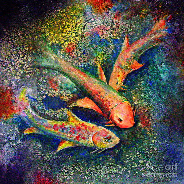 Koi Art Print featuring the painting Koi Family by Michael D