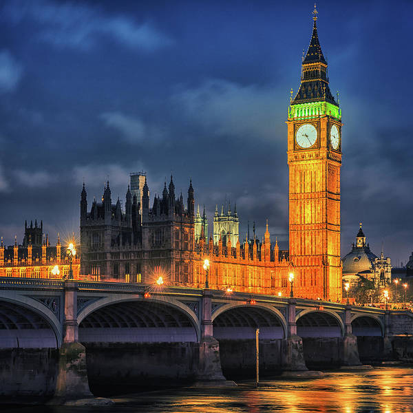 Clock Tower Art Print featuring the photograph London - City Of Westminster And River by Franckreporter