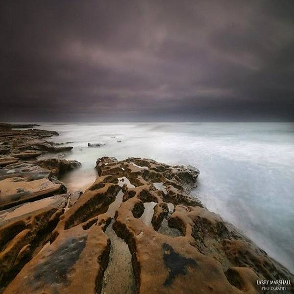Art Print featuring the photograph Long Exposure Sunset On A Dark Stormy by Larry Marshall
