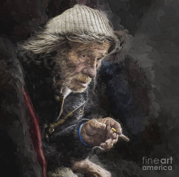 Homeless Art Print featuring the photograph Man with cigarette by Sheila Smart Fine Art Photography