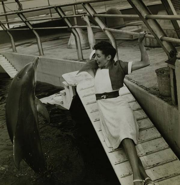 Accessories Art Print featuring the photograph Model Wearing A Cannon Outfit By A Dolphin by Toni Frissell
