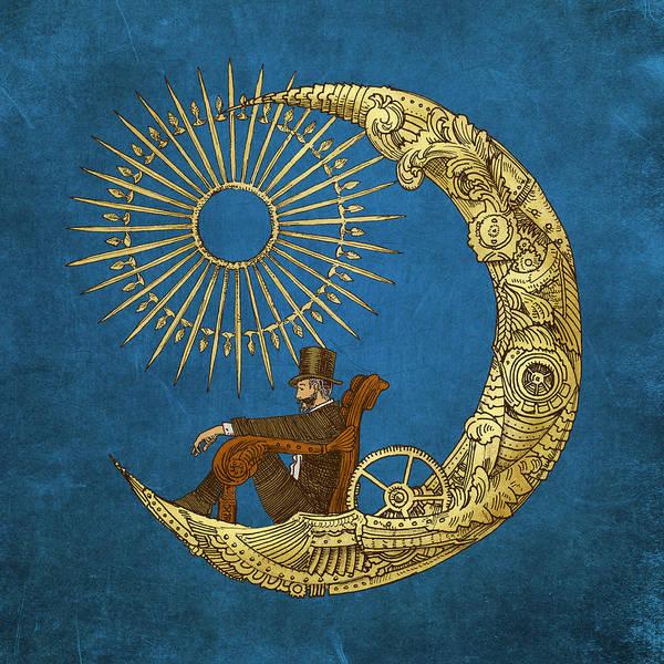 Blue Art Print featuring the digital art Moon Travel by Eric Fan
