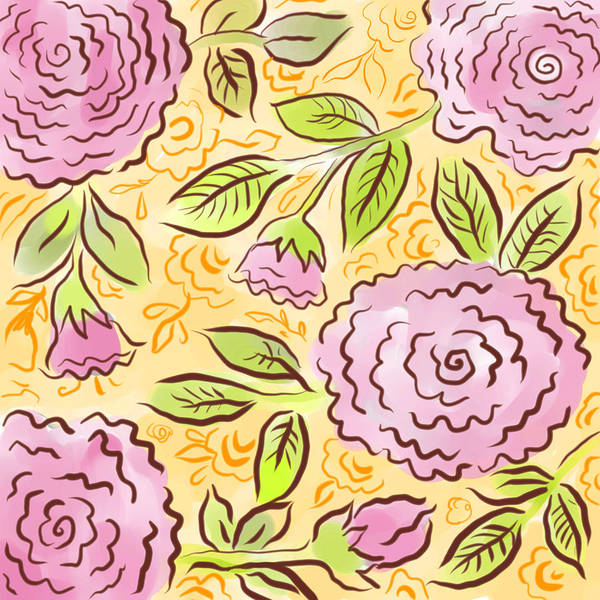 Pink Art Print featuring the digital art Mums And Roses by Elaine Jackson