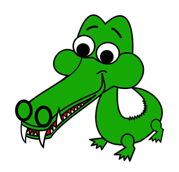 My Name Is Croc-o-dile Art Print featuring the digital art My name is Croc-O-Dile by Asbjorn Lonvig