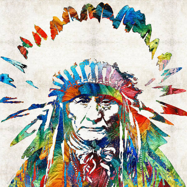 Native American Art Print featuring the painting Native American Art - Chief - By Sharon Cummings by Sharon Cummings