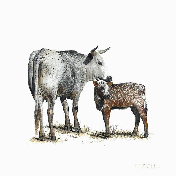 Nguni Art Print featuring the painting Nguni Cow and Calf 2 by Edgar Pretorius