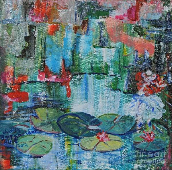 Pond Art Print featuring the painting Nymph's Lily Pond- SOLD by Judith Espinoza