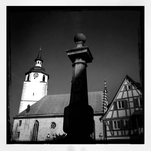 Church Art Print featuring the photograph Old town Waldenbuch in Germany by Matthias Hauser