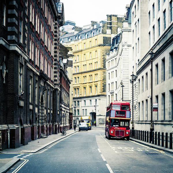 Downtown District Art Print featuring the photograph Old Vintage Red Double Decker Bus In by Zodebala