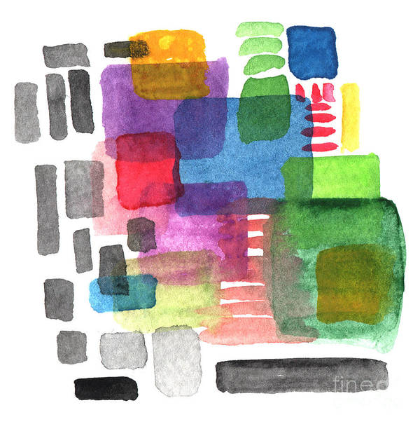 Squares Art Print featuring the painting Out Of The Box by Linda Woods