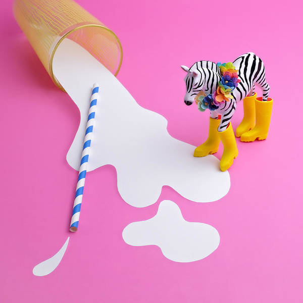 Milk Art Print featuring the photograph Paper Craft Glass Of Spilled Milk With by Juj Winn