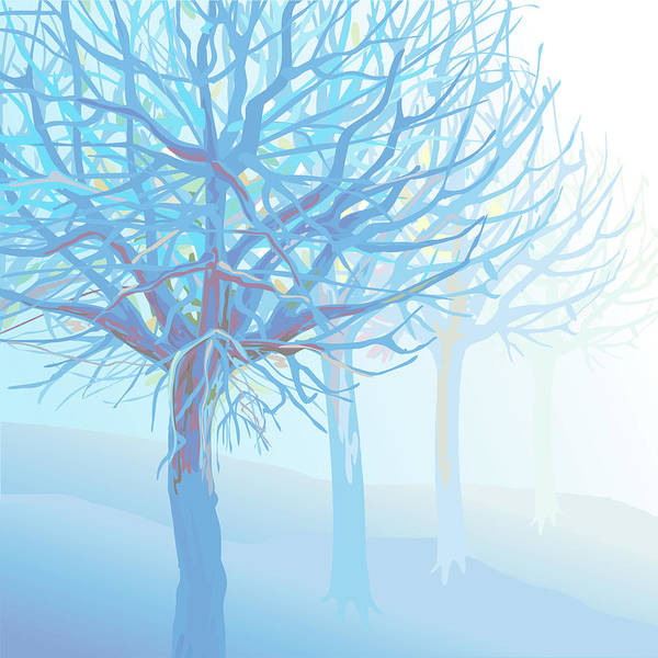 Scenics Art Print featuring the digital art Pastel Blue Trees And Branches In Foggy by Charles Harker