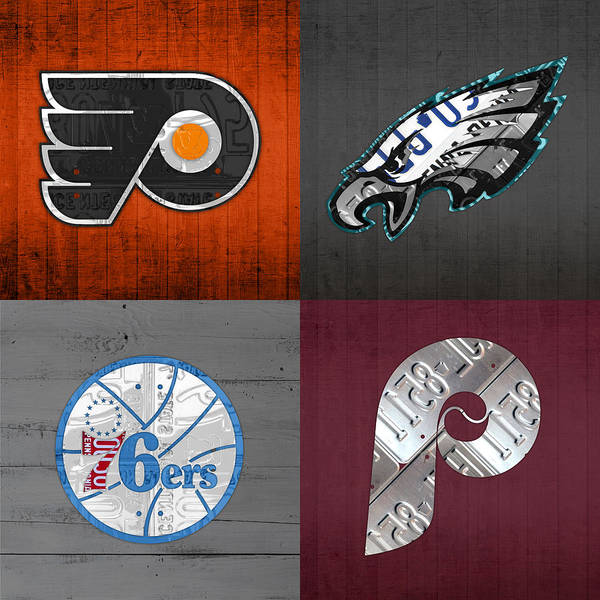 Philadelphia Art Print featuring the mixed media Philadelphia Sports Fan Recycled Vintage Pennsylvania License Plate Art Flyers Eagles 76ers Phillies by Design Turnpike