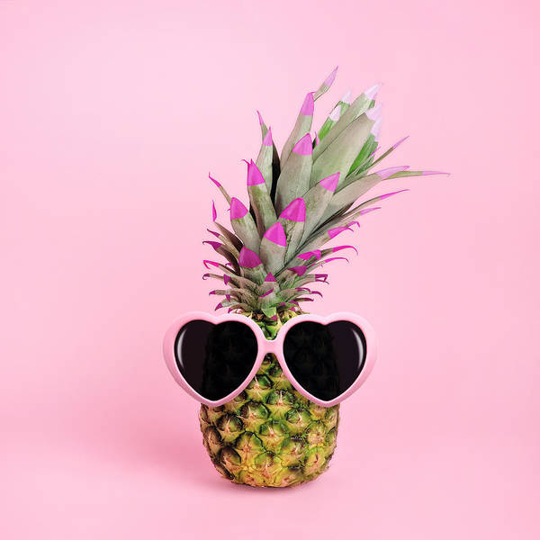 Food Art Print featuring the photograph Pineapple Wearing Sunglasses by Juj Winn