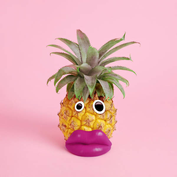 Googly Eyes Art Print featuring the photograph Pineapple With Face Made Of Fake Lips by Juj Winn
