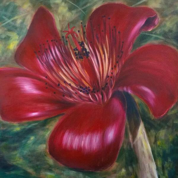 Flower Art Print featuring the painting Red Silk Cotten Bombex by Larry Palmer