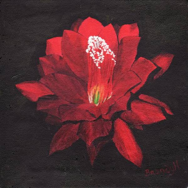 Oils Art Print featuring the painting Red Waterlily by Brandy House