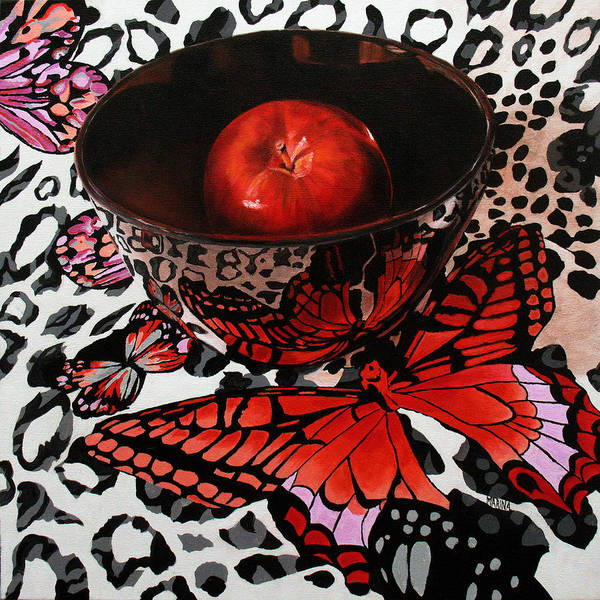 Butterfly Art Print featuring the painting Reflections Of A Red Butterfly by Marina Petro