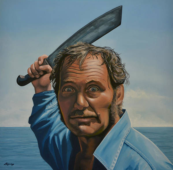 Robert Shaw Art Print featuring the painting Robert Shaw in Jaws by Paul Meijering