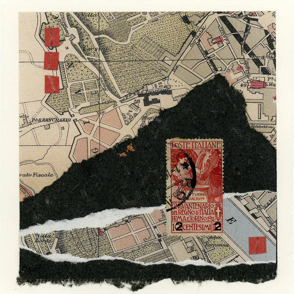 Rome Art Print featuring the photograph Roman Map Collage by Carol Leigh