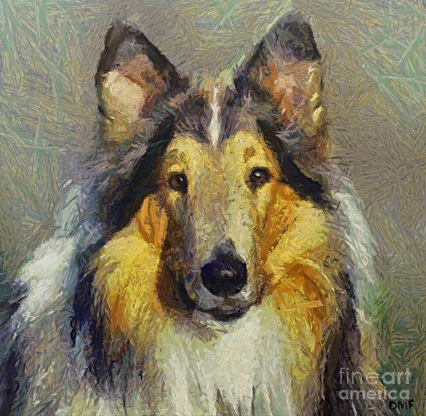 Rough Collie Art Print featuring the painting Rough Collie by Dragica Micki Fortuna