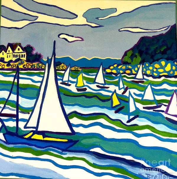 Landscape Art Print featuring the painting Sailing School Manchester by-the-sea by Debra Bretton Robinson