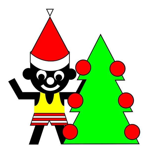 Sam And His Christmas Tree Wish You A Merry Christmas Art Print featuring the digital art Sam and his Christmas Tree wish you a Merry Christmas by Asbjorn Lonvig