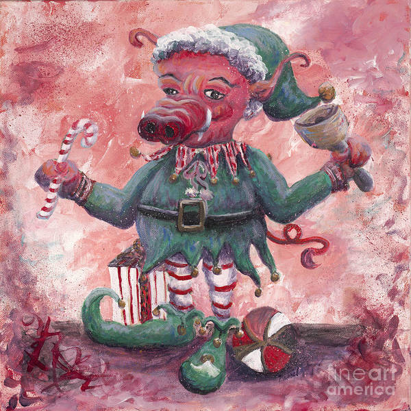 Elf Art Print featuring the painting Santa's Littlest Elf Hog by Nadine Rippelmeyer