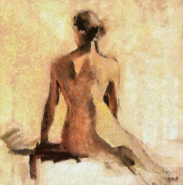 Nude Art Print featuring the painting Seated Nude by Dragica Micki Fortuna