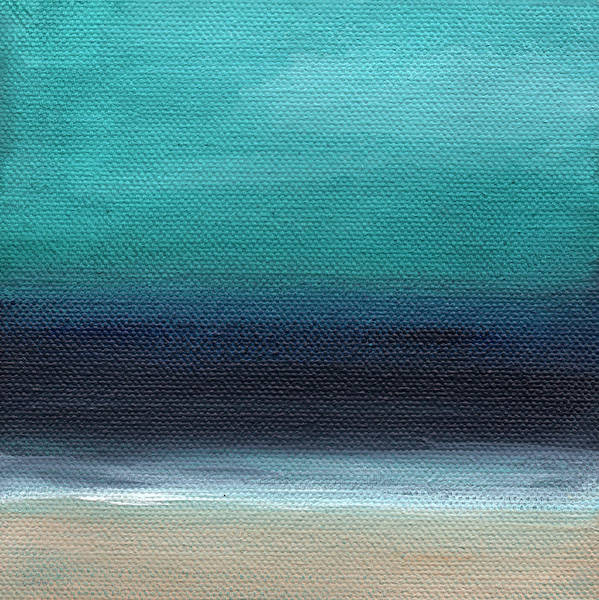 Beach Art Print featuring the painting Serenity- Abstract Landscape by Linda Woods