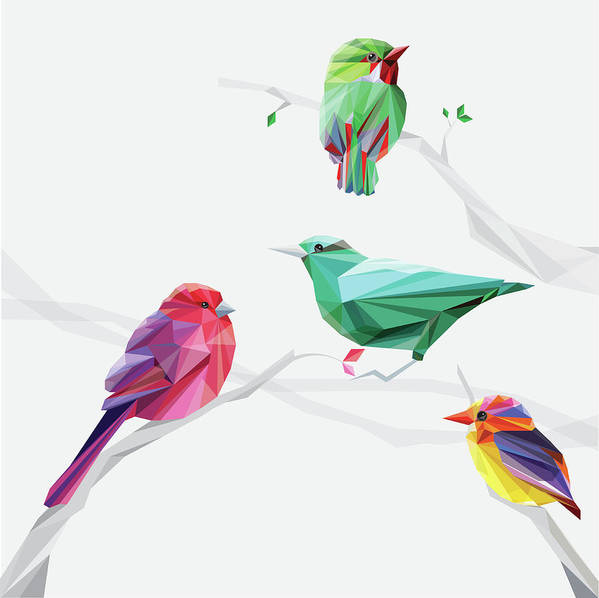 Funky Art Print featuring the digital art Set Of Abstract Geometric Colorful Birds by Pika111