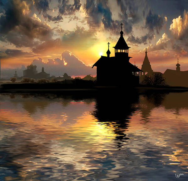 Water Art Print featuring the photograph Silhouettes of the Christianity by Igor Zenin