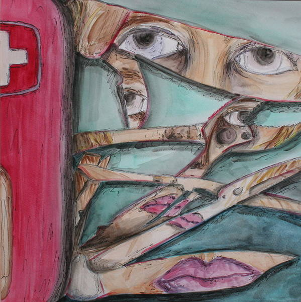 Swiss Army Knife Art Print featuring the painting Sliced by Kate Fortin