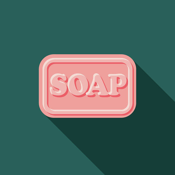 Art Art Print featuring the digital art Soap Flat Design Cleaning Icon With by Bortonia