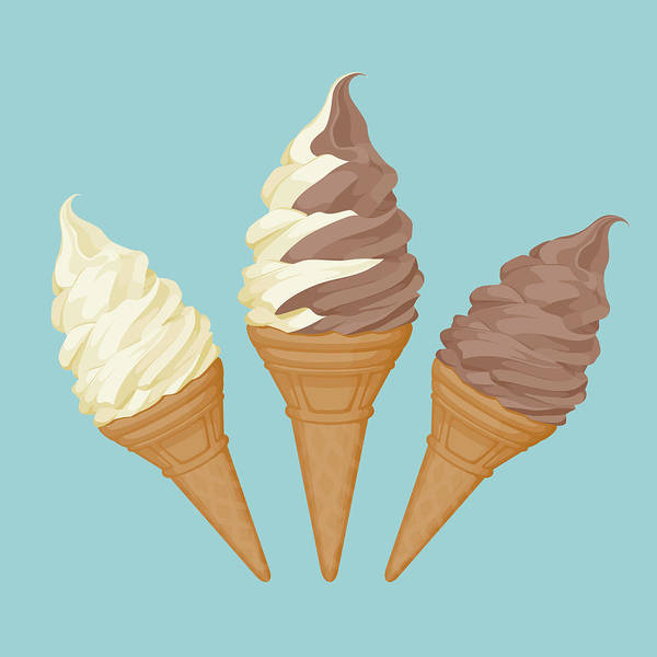 Vanilla Art Print featuring the digital art Soft Ice Cream Cone by Saemilee