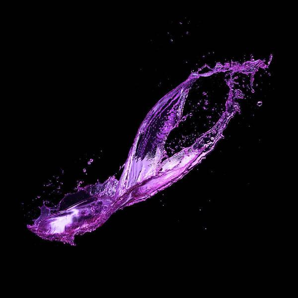 Purple Art Print featuring the photograph Splash On Black Background by Biwa Studio
