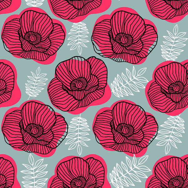 Flowerbed Art Print featuring the digital art Spring Bright Seamless Floral Pattern by Ekaterina Bedoeva
