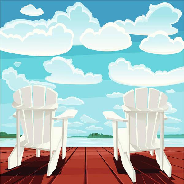 Scenics Art Print featuring the digital art Summer Background Muskoka Chairs by Rusanovska