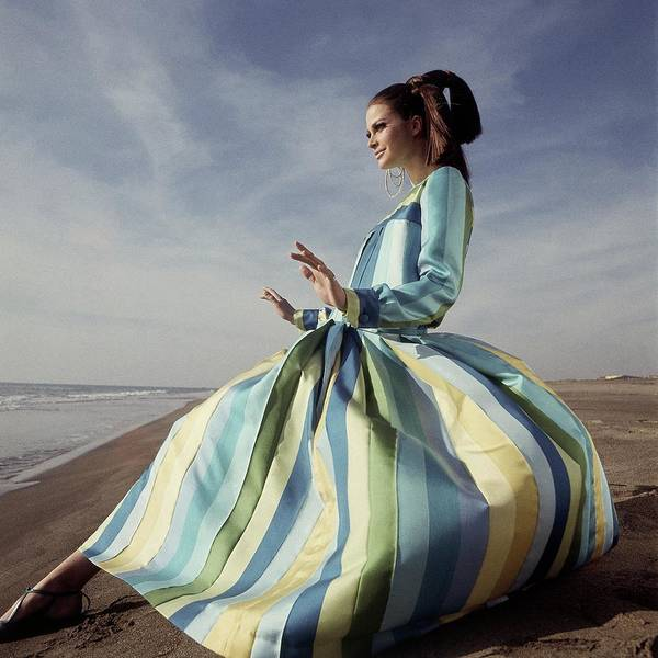 Fashion Art Print featuring the photograph Editha Dussler Posing On A Beach by Henry Clarke