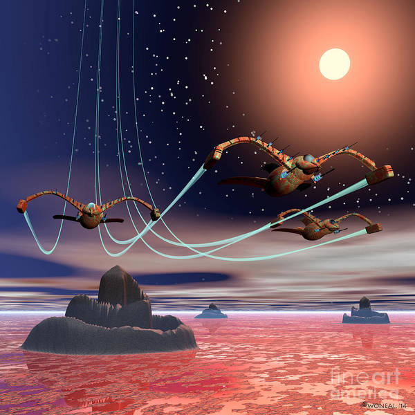 Sci-fi Art Print featuring the digital art The Attack Of The Raptors by Walter Neal