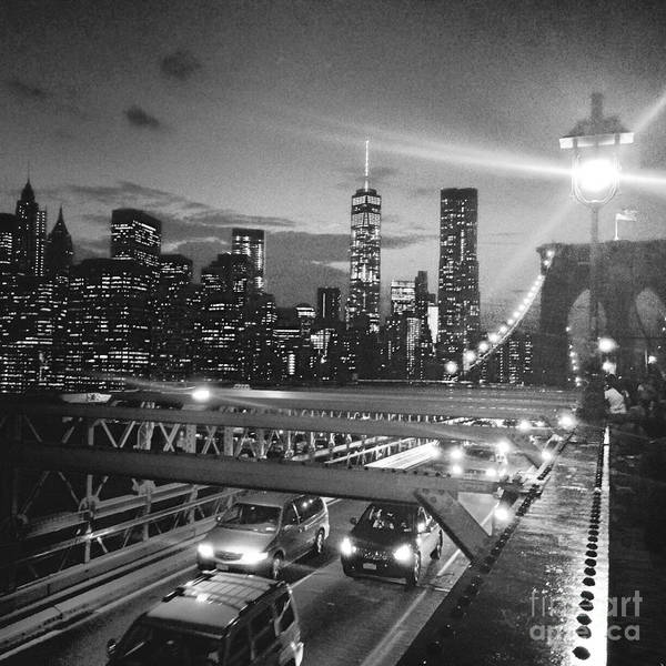 Brooklyn Art Print featuring the photograph The Brooklyn Bridge In Black And White by Christy Gendalia