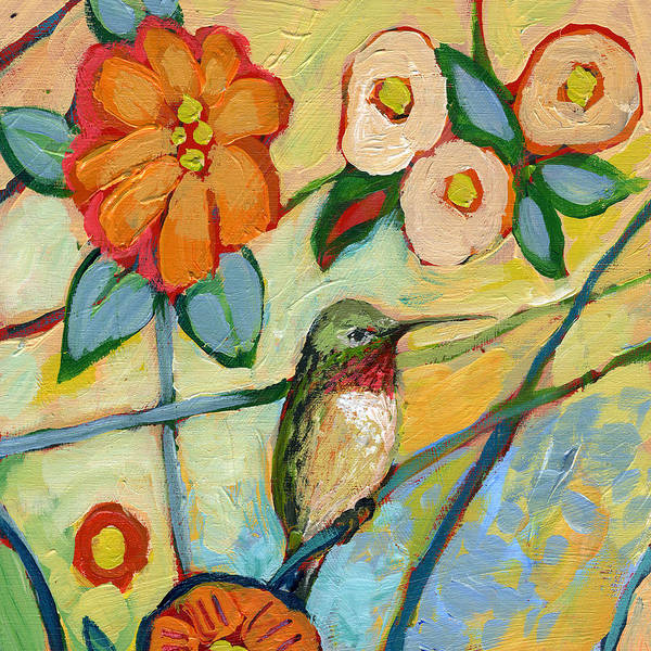 Hummingbird Art Print featuring the painting The NeverEnding Story No 6 by Jennifer Lommers