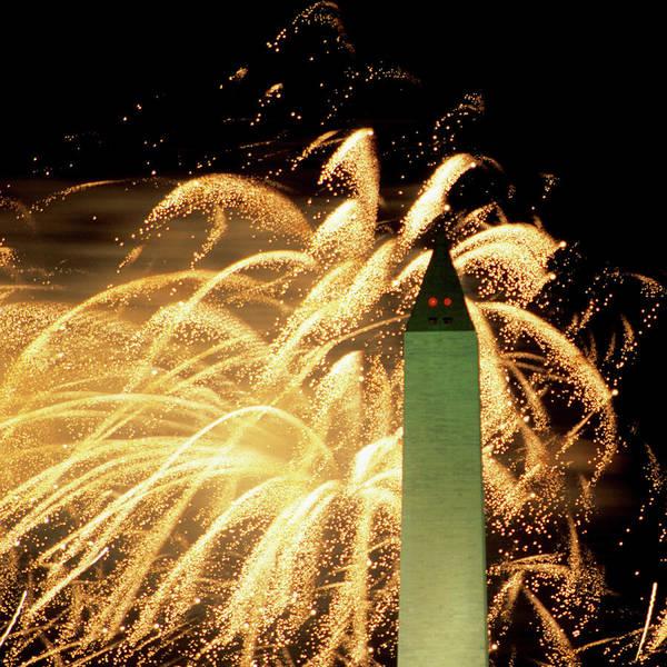 Firework Display Art Print featuring the photograph The Washington Monument And Fireworks by Hisham Ibrahim
