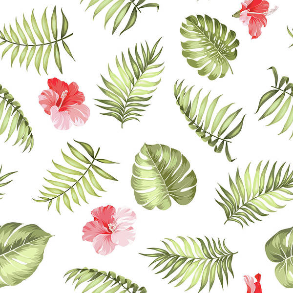 Tropical Rainforest Art Print featuring the digital art Topical Palm Leaves Pattern by Kotkoa