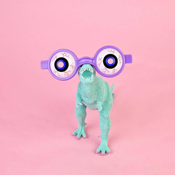 Purple Art Print featuring the photograph Toy Dinosaur With Spooky Glasses by Juj Winn