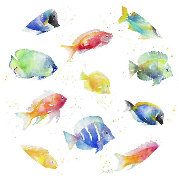 Tropical Art Print featuring the painting Tropical Fish Round by Lanie Loreth
