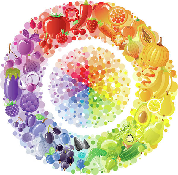Nut Art Print featuring the digital art Vegetarian Rainbow Plate Withe Fruits by O-che