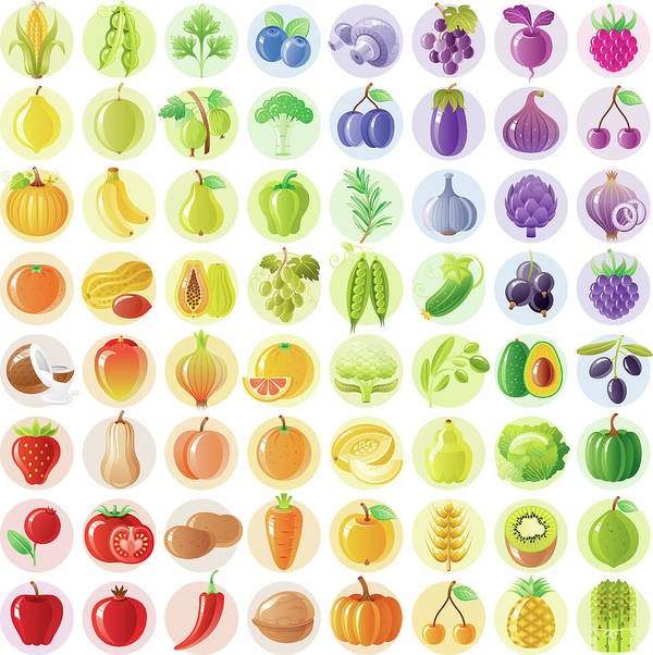 Nut Art Print featuring the digital art Vegetarian Rainbow Withe Fruits by O-che