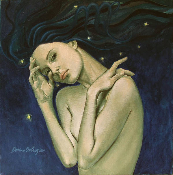 Fantasy Art Print featuring the painting Virgo From Zodiac Series by Dorina Costras