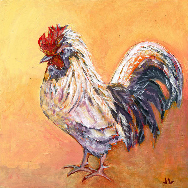 Chicken Art Print featuring the painting White Rooster by Jennifer Lommers